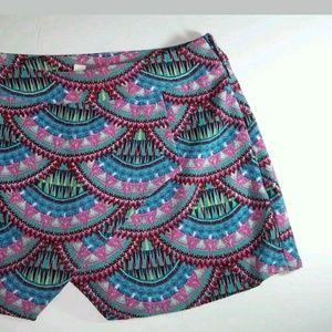 Pink Republic Shorts - ARTSY PRINT CURVED DESIGN FLORAL SKORT SHORT XS